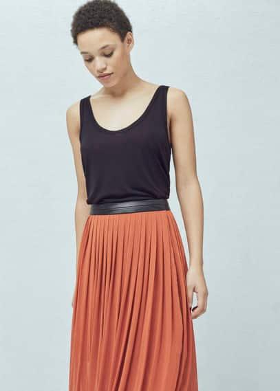 Falda larga plisada | MANGO