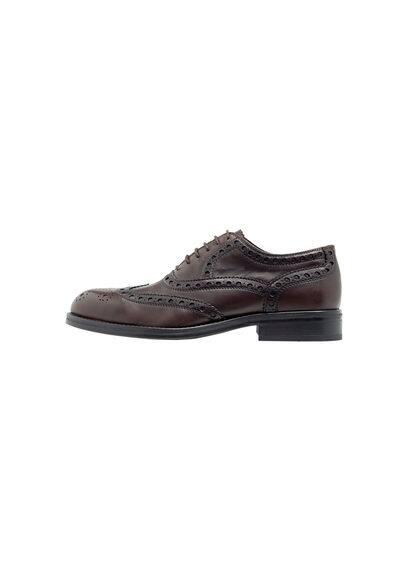 Chaussures Oxford Cuir - Détails perforés, lacets, semelle en caoutchouc.