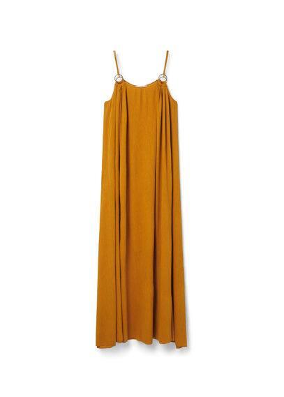 Robe Longue Coton - Tissu de coton mélangé, ornement métallique, bretelles fines, col rond.