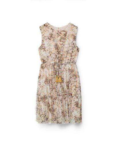 Robe Imprimée Avec Ceinture - Imprimé, Col rond, Sans manches, Ceinture amovible, Pompons décoratifs, Fermeture en goutte à l'arrière