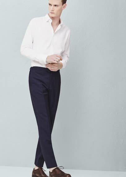 Check wool suit trousers | MANGO MAN