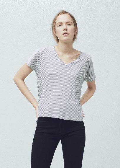 T-shirt bicolore à rayures | MANGO
