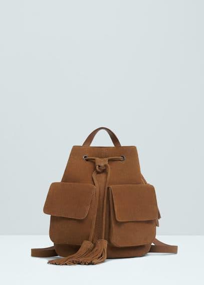 Pocket suede backpack | MANGO