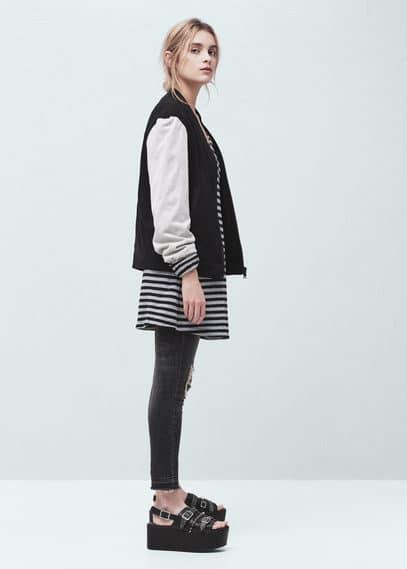 Contrast sleeve bomber jacket | MANGO
