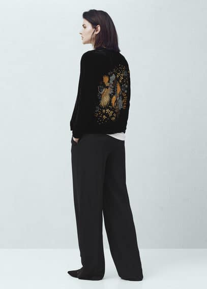 Embroidered velvet bomber jacket | MNG