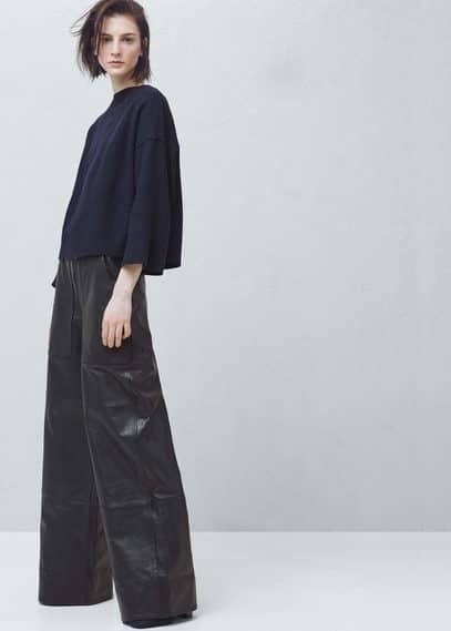 Premium - pantalón piel acampanado | MANGO
