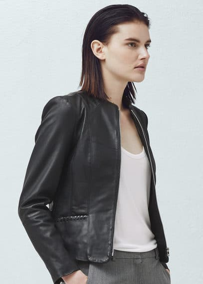 Pocket leather jacket | MANGO