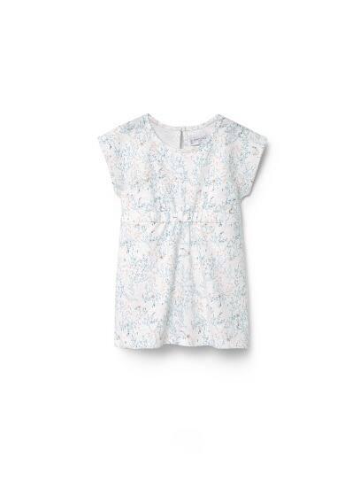 Robe À Fleurs - Tissu en coton, imprimé floral, col rond, manches courtes, taille élastique, fermeture en goutte à l'arrière.