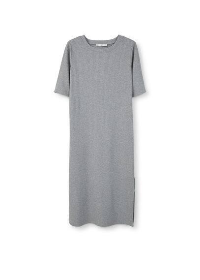 Robe Midi À Bords Côtelés. - Tissu côtelé, col rond, manches courtes, bas fendu sur les côtés.