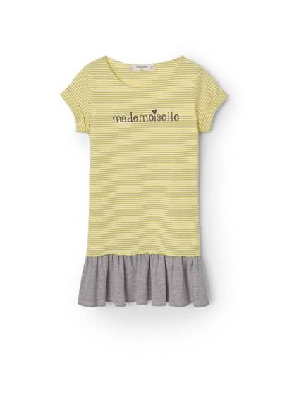 Robe Combin�e Coton - Tissu en coton, message imprim� sur le devant, col rond, manches courtes, jupe �vas�e.