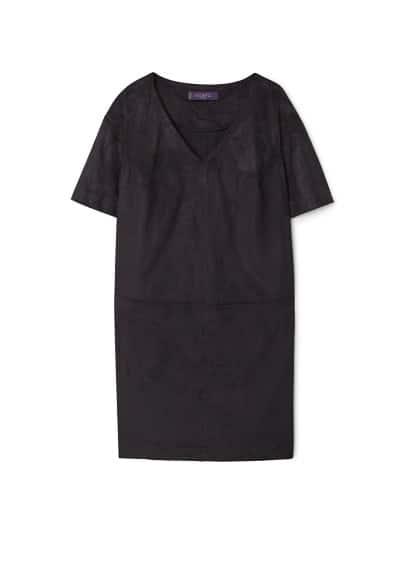 Robe Texturée - Col en V, manches courtes, coutures décoratives.