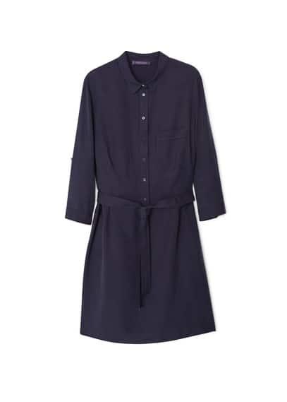 Robe En Fibre Naturelle Douce - Tissu doux, fermeture boutonnée sur le devant, poches latérales, poche plaquée, manches longues avec poignets boutonnés, ceinture amovible à la taille.