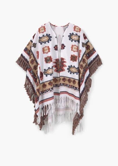 Poncho coton à franges | MANGO