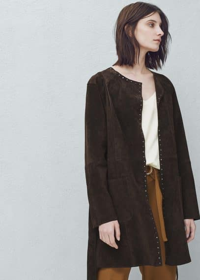 Studded suede coat | MANGO