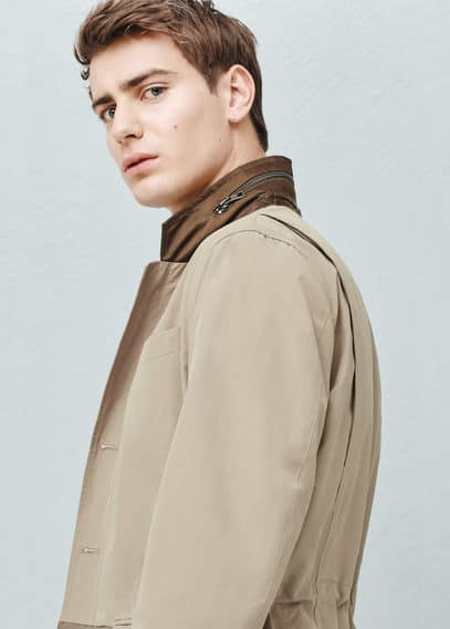 Veste coton empiècements contrastants | MANGO MAN