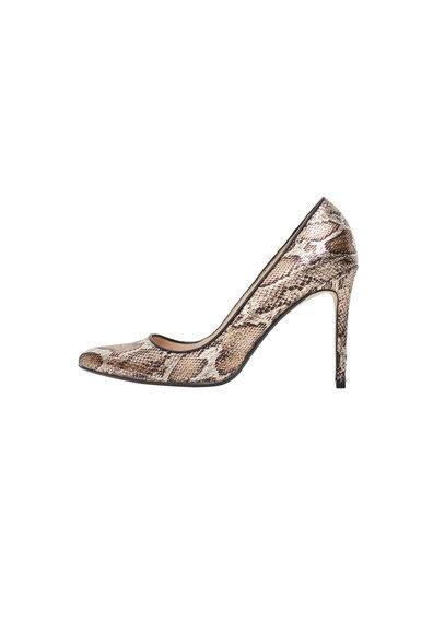Escarpins Motif Animal - Effet peau de serpent, finition métallisée, à pointe, talon fin, talon de 10 cm.