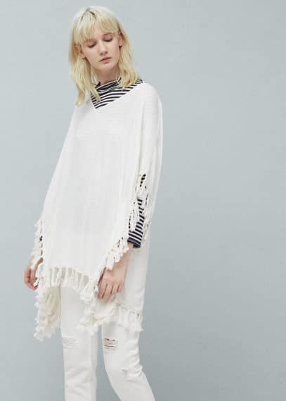 Textured fringed poncho | MANGO