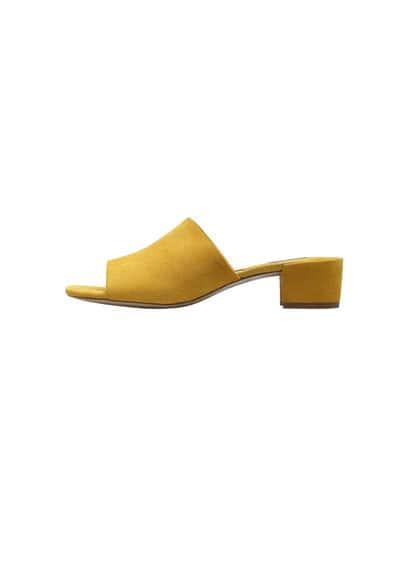 Sandales Cuir Ouvertes ÀL'Arrière - À bride arrière, lanière décorative, talon de 4,5 cm.
