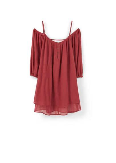 Robe Coton Fendue - Tissu en coton, bretelles fines, épaules dénudées, manches longues avec poignets élastiques, détail d'ouverture au dos, fermeture boutonnée sur le devant, doublure.