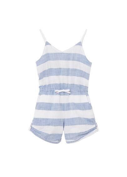 Combi-Short Coton - Tissu en coton, motif à rayures, bretelles fines, col rond, taille élastique avec cordon, deux poches latérales, revers.