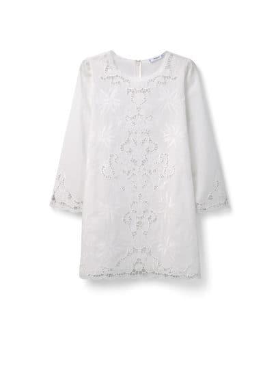 Robe Brodée Coton - Tissu en coton, Col rond, Manches longues, Détails ajourés, Motifs brodés, Fermeture Éclair à l'arrière