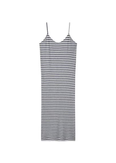 Robe Longue Jaspée - Bretelles fines, Tissu jaspé, Col en V