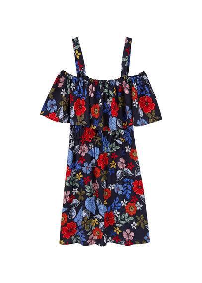 Robe Volantée - Tissu crêpe fluide, Motif floral, Col bateau, Bretelles larges, Taille élastique, Détail d'ouverture