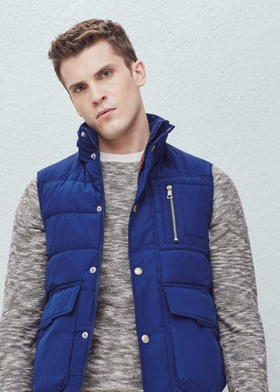 Concealed hood quilted gilet | MANGO MAN