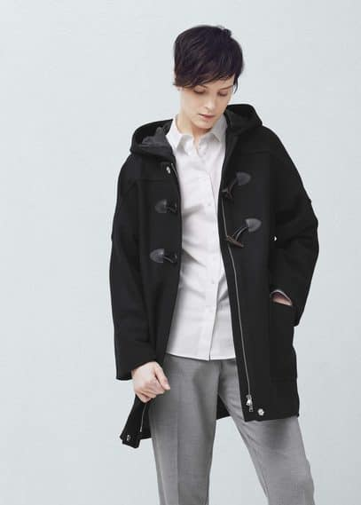 Hooded wool coat | MANGO