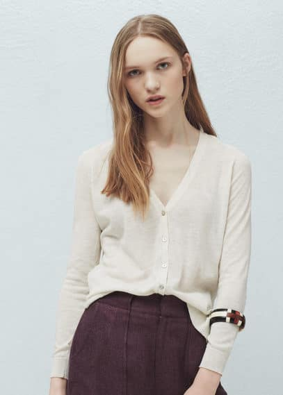 Cotton-blend cardigan | MANGO