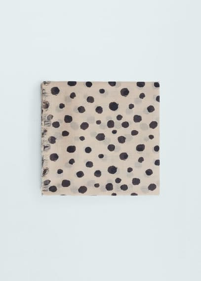 Polka-dot cotton scarf | MANGO