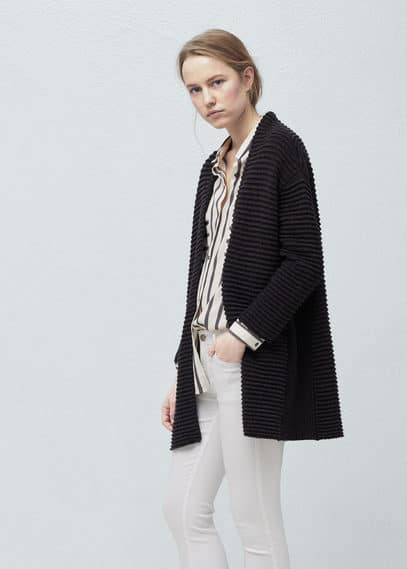 Striped texture cardigan | MANGO