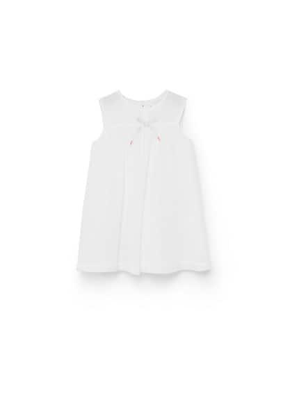Robe Imprimée À N?ud - Tissu en coton, imprimé à pois, col rond, n?ud décoratif, sans manches, fermeture boutonnée à l'arrière, culotte élastiques.