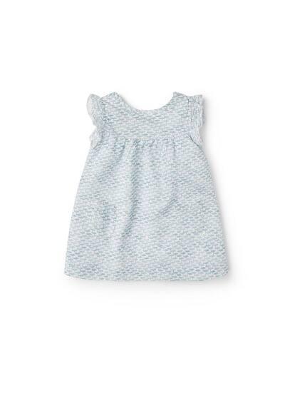 Robe Coton Imprimée - Tissu en coton, col rond, manches avec détail volanté, poche plaquée sur le devant, détail volanté.