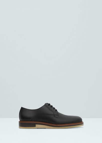 Leather blucher shoes | MANGO MAN