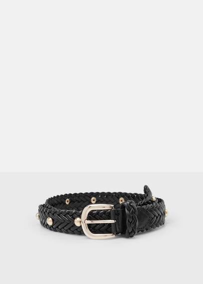 Leather-appliqué braided belt | VIOLETA BY MANGO