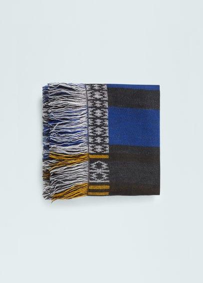 几何图案饰边围巾 | MANGO