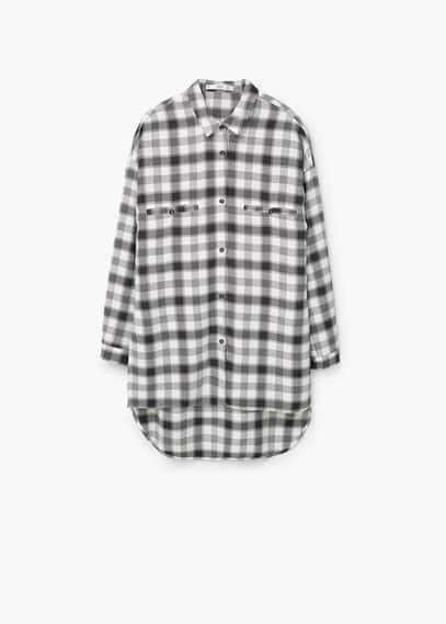 Chest-pocket check shirt | MANGO