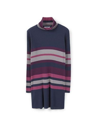 Robe Coton Maille Côtelée - Tissu en coton, Côtelé, Motif à rayures, Col roulé, Manches longues