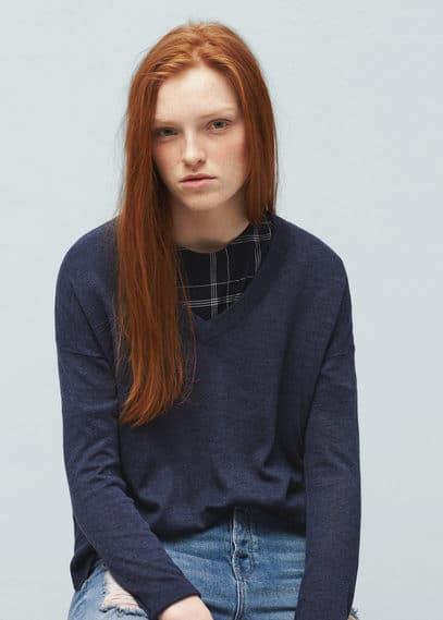 Katoenen trui met splitten | MANGO