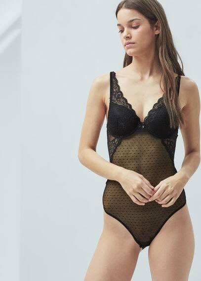 Lace foam bodysuit | MANGO