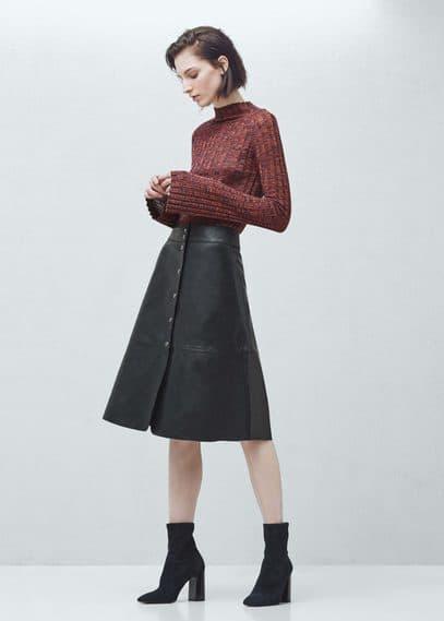 Premium - jupe cuir boutonnée | MANGO