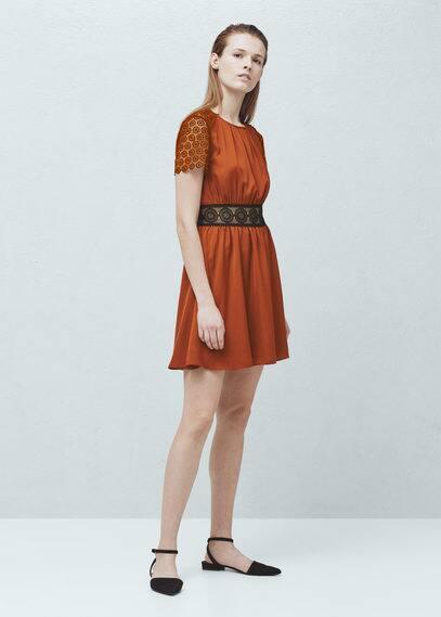 Blond-lace panel dress | MANGO