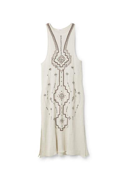 Robe Brodée À Perles - Tissu en lin mélangé, perles décoratives, col rond, sans manches, fentes latérales à la base.