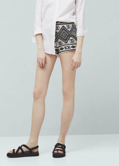 Cotton jacquard shorts | MANGO