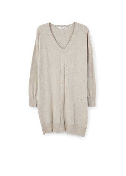 Robe Maille Coton - Tissu de coton mélangé, tissu en maille, col en V, manches longues, liserés décoratifs, bords côtelés.