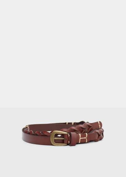 Cinturó pell trenat | VIOLETA BY MANGO