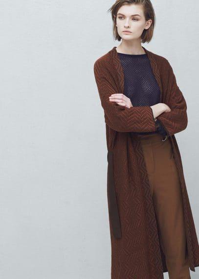Cardigan long ceinture | MANGO