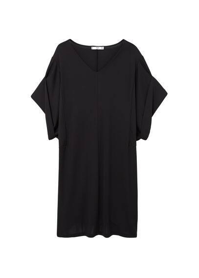 Robe Manches Cloche - Style oversize, col en V, manches cloche.