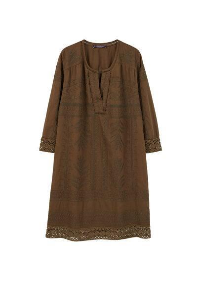 Robe Ajourée Coton - Tissu en coton, motifs brodés, liserés ajourés, col en V, manches longues, doublure.